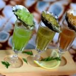 trio of oysters with caipirinha granitas